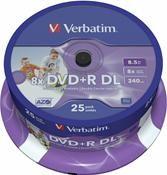 Verbatim DVD+R DL 8.5GB 8X Inkjet white 25er Spindel