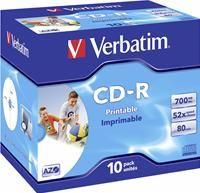 Verbatim CD-R 80 Minuten 700MB 52X       ,   10er Pack, Jewel Case, Plus Fast Dry, Data Life