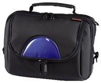 Hama DVD Player Bag Syscase 4 Kfz Gr. L  für tragbare DVD-Player und 4 DVDs inkl. 4 längenverstellbaren Gurten für die Befestigung am Vordersitz, 2 abge- trennte Fächer, Material: 1680D Nylon, schwarzer Reißverschluss, Farbe: Schwarz mit blauer Frontapplikation,