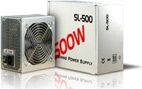 Inter-Tech Netzteil SL-500  500W  500 Watt, 120mm Lüfter, 3x SATA, 20/24pin ATX, 1x FDD, 2x Molex, 19-25db 1x 4pin 12Volt