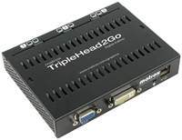 Matrox TripleHead 2 Go Digital Edition VGA-Splitter ermglicht den Anschluss von drei Displays an ein Notebook oder PC mit nur einem VGA Ausgang, 1x VGA-In D-Sub, 1x DVI-D-In, 3x DVI-I-Out