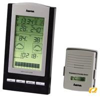 Hama EWS-800 Elektronische Wetterstation schwarz/silber,  Basisstation, Funk Außensensor mit Temperaturanzeige, Barometer, Hygrometer, Uhr-/ Kalenderfunktion