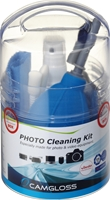CAMGLOSS Foto-Cleaning-Kit zur Reinigung der Foto-/Video- ausrstung, bestehend aus 50ml Reinigungsflssigkeit, antistatisches Mikrofasertuch, Reinigungstuch Duo (feucht/trocken), Tornado-Blasebalg mit Brstenaufsatz, 2 Reinigungsstbchen