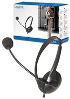 LogiLink Deluxe Stereo Headset  Lautstärkeregler, 8Hz-22KHz, 105dB, 32 Ohm, 2x 3.5mm Klinke, Kabellänge 3m