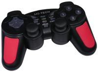 MS-Tech LS-15 Gamepad 15 Buttons, Turbo/Clear Funktion, 2 analoge Sticks mit 360º, 1 digitales 8 Richtungs Pad, 2 Schock Controller, schwarz/rot