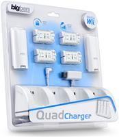 bigben Quad Charger  Ladestation für 4 Wii-Fernbedienungen, inkl. 4 Akkus, Nintendo Wii Zubehör