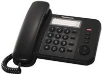 Panasonic KX-TS520GB schwarz  3 Ziehlwahltasten, wandmontagefähig, Klingeltonlautstärke in 3 Stufen, Hörerlautstärke in 6 Stufen einstellbar