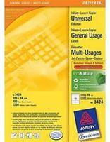 Zweckform Universaletiketten weiss  105x48mm, 1200 Stück, A4-Druckbogen, für Laser/Tintenstrahldrucker
