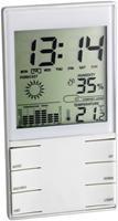 TFA Meteotime Duo Elektronische Wetterstation weiss   Mondphasenanzeige, Sonnenauf/untergang, Innen-/Außentemperatur, Luftfeuchtigkeit, Wettervorhersage, Luftdruckentwicklung, Regenmenge, Windstärke, inkl. Außensensor,