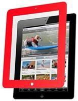 Nextware Clear Screen Shield mit Rand rot,  für iPad 3, mehrschichtige kratzfeste Schutzfolie mit rotem Rahmen, schützt vor Kratzern, Schmutz und Fingerabdrücken, jederzeit rückstands- frei ablösbar