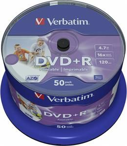 Verbatim DVD+R 4.7GB 16X Inkjet white 50er Spindel (Article no. 90134699) - Picture #1
