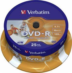 Verbatim DVD-R 4.7GB 16X Inkjet weiß 25er Spindel (Article no. 90141199) - Picture #1