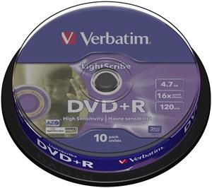 Verbatim DVD+R 4.7GB 16X Lightscribe 10er Spindel (Article no. 90188809) - Picture #1